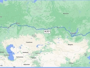 Map of Russia from St.Petersburg to Vladivostok
